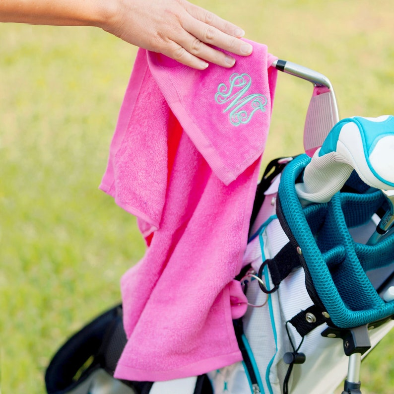 Hot Pink Golf Towel with Monogram Monogram Golf Towel Golf image 0
