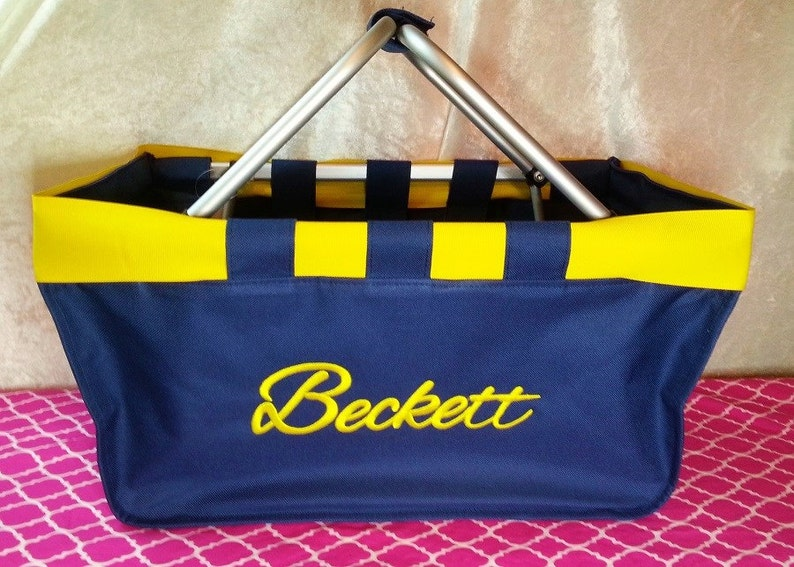 Navy Market Tote with Ribbon Monogrammed Personalized in image 0
