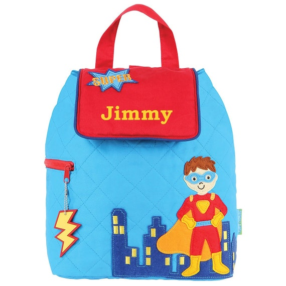 c360a53280f3 Superhero Blue Quilted TODDLER Backpack Stephen Joseph®