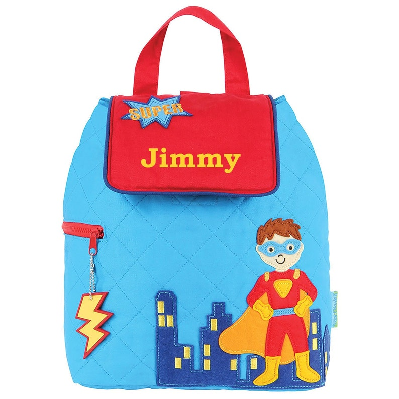 Superhero Blue Quilted TODDLER Backpack Stephen Joseph® image 0