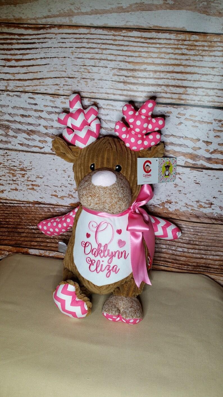 Pink Deer Personalized Harlequin Cubbies Plush Keepsake Birth image 0