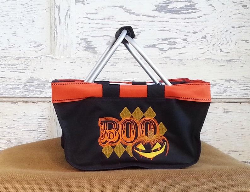 Halloween Boo Mini Market Tote Halloween with Boo Argyle image 0