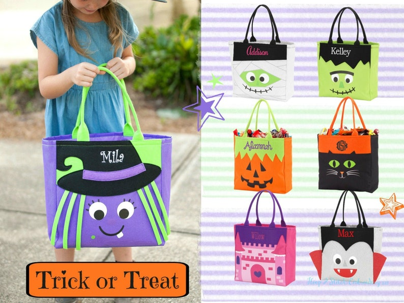 Halloween Character Tote with Monogram Personalized image 0