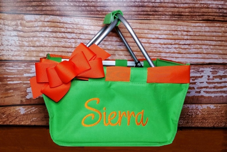 Green Mini Market Tote with Ribbon Monogrammed Personalized image 0
