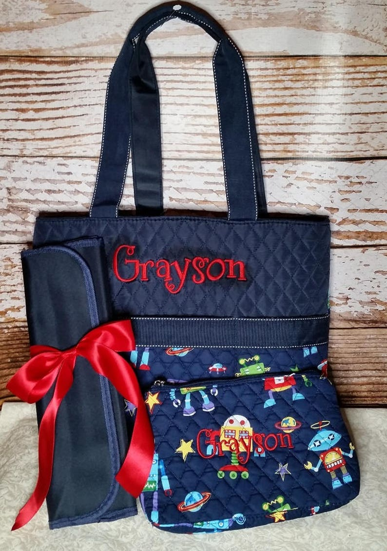 Navy Robot Diaper Bag Zipper Pouch & Changing Pad with image 0
