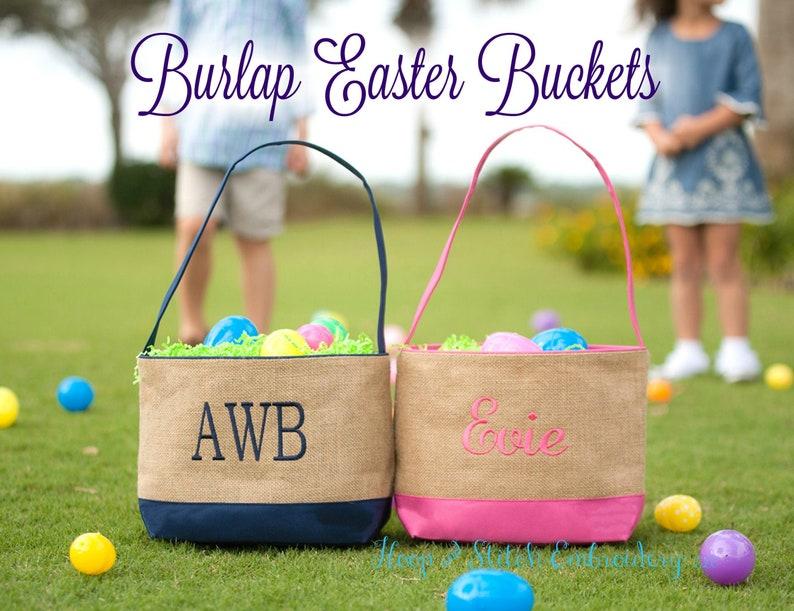 Burlap Easter Basket Bucket Personalized Easter Basket image 0