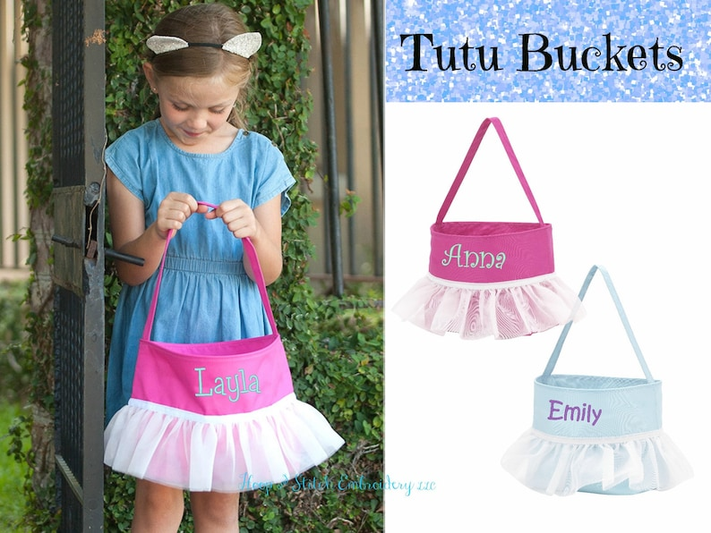 Tutu Bucket Tutu Halloween Bag Monogram Candy Bucket image 0