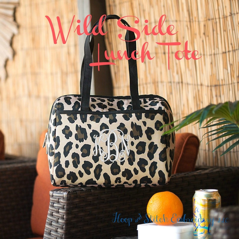 Leopard Lunch Tote Monogram Lunch Tote Viv & Lou® Lunch image 0