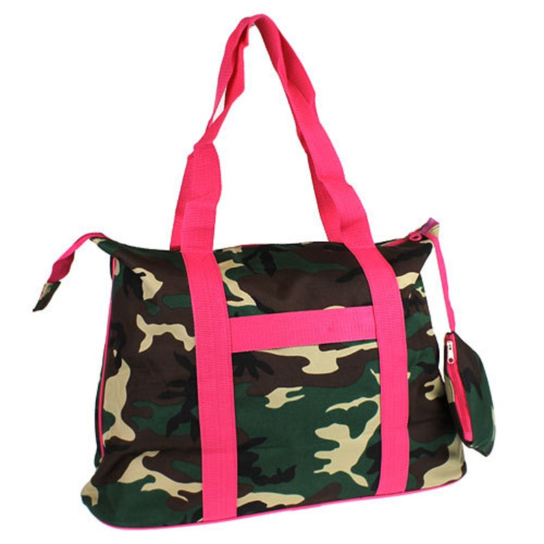 Camo Green and Camo with Hot Pink Zipper Tote Bag with image 0