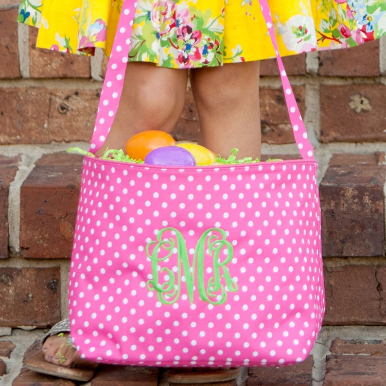 Pink Dot Easter Bucket Tote Personalized Easter Basket image 0