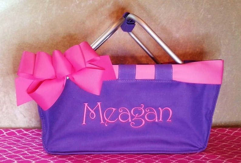Purple Market Tote with Ribbon Monogrammed Personalized in image 0