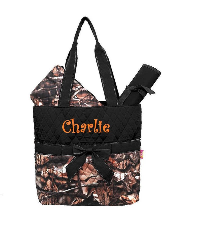 Camo with Black Diaper Bag Zipper Pouch & Changing Pad with image 0