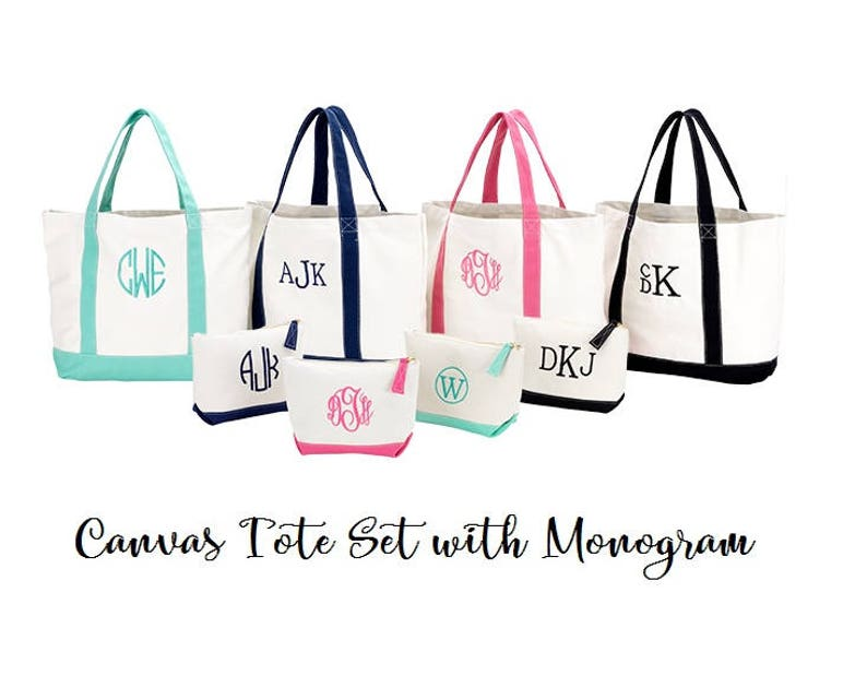 Monogram Canvas Tote with Accessory Bag Hot Pink Tote Navy image 0