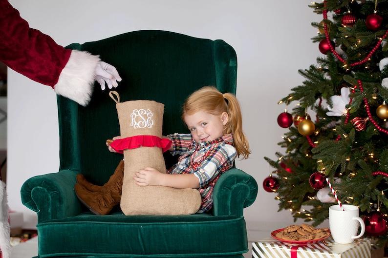 Burlap Ruffle Stocking Monogram Stocking Christmas Stocking image 0