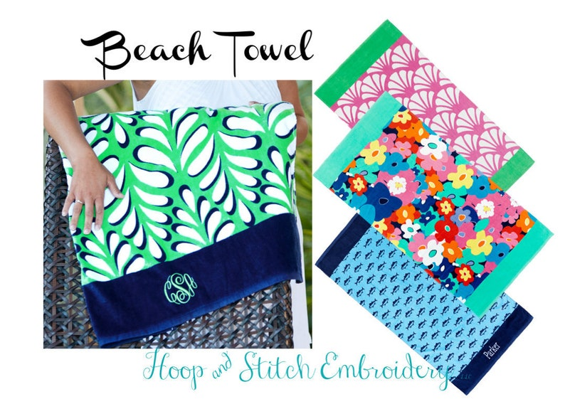 Beach Towel with Monogram Pink Shell Monogram Towel Shelly image 0
