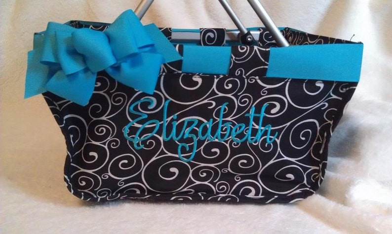 Black Swirl Mini Market Tote with Ribbon Monogrammed image 0
