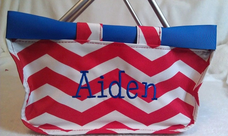 Red Chevron Mini Market Tote with Ribbon Monogrammed image 0