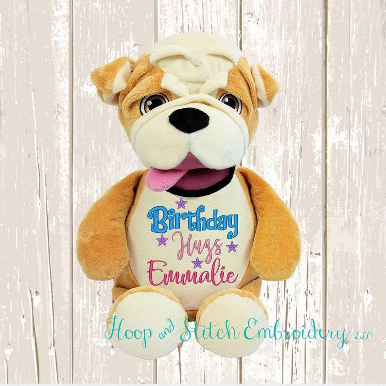 Bulldog Personalized Cubbies Plush Keepsake Birth Birthday image 0