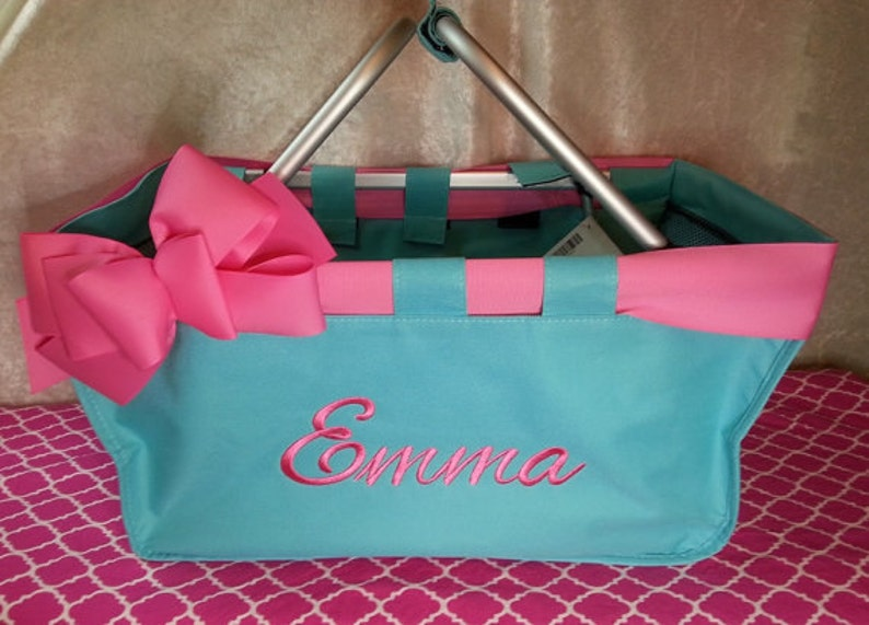 Mint Market Tote with Ribbon Monogrammed Personalized in image 0