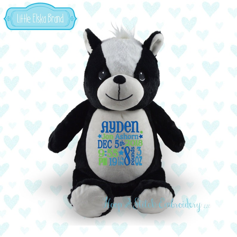 Skunk Personalized Stuffie Plush Keepsake Birth irthday image 0