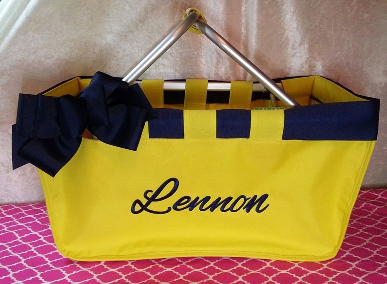 Yellow Market Tote with Ribbon Monogrammed Personalized in image 0