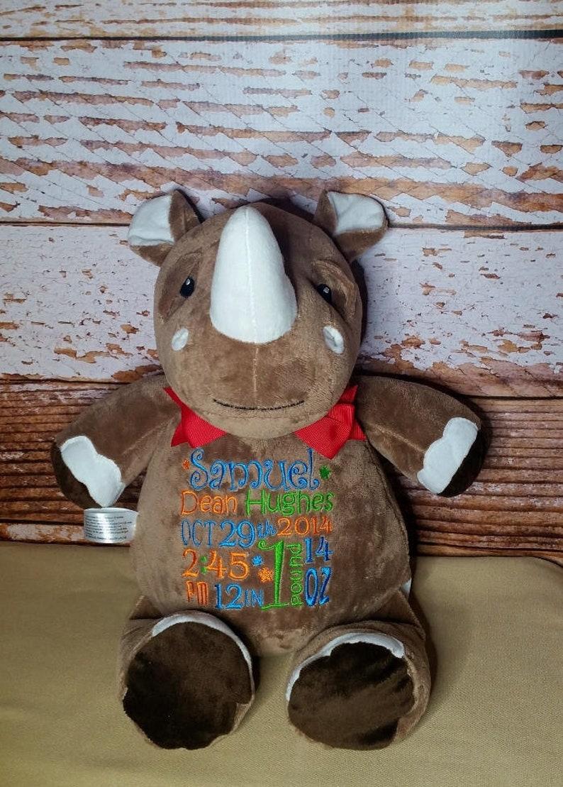 Rhino Personalized Cubbies Plush Keepsake Birth Birthday image 0