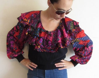 74915a7b04ff1 Vintage Anthony Sicari Blouse 1980s Colorful Spanish Flamenco Ruffle Knit Blouse  Shirt M