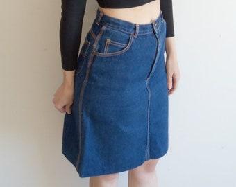 83494e527f Vintage Denim Skirt Hipster Rocker 80s 90s Gitano High Waist Dark Denim  Skirt M