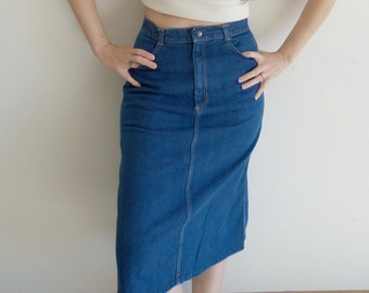 e935a14a49 Vintage Denim Skirt 1980s High Waist Dark Midi Skirt S M