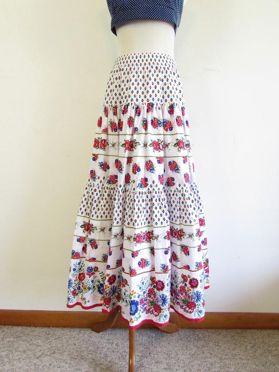 Vintage Liz Sport Skirt 1980s 1990s White Floral … - image 3