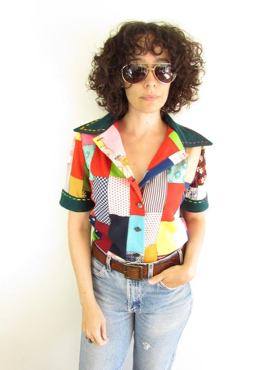 Vintage Patchwork Shirt 1970s Handmade Polyester C