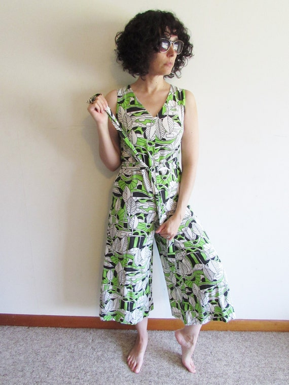 Vintage Palazzo Jumpsuit 1960s Psychedelic Abstrac