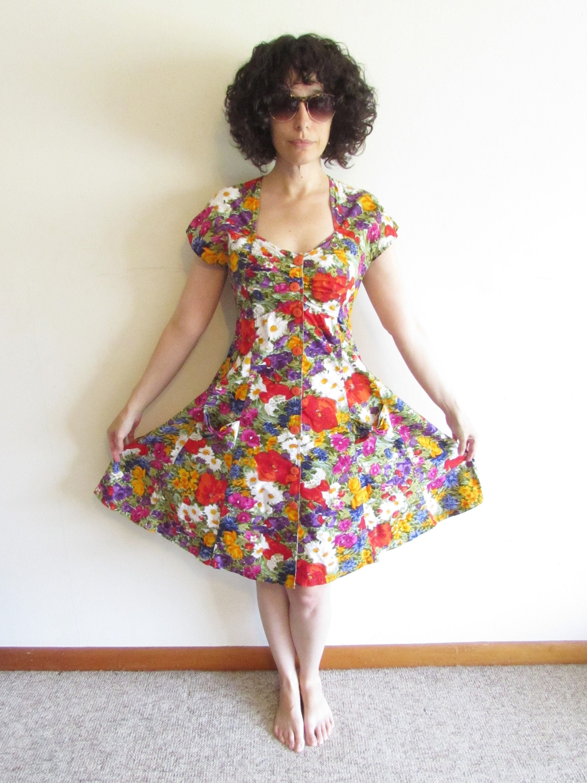 80s Dresses | Casual to Party Dresses Vintage Flower Garden Fit  Flare Dress 1980S 1990S Nouveau Faces Summer Sweetheart M $8.00 AT vintagedancer.com