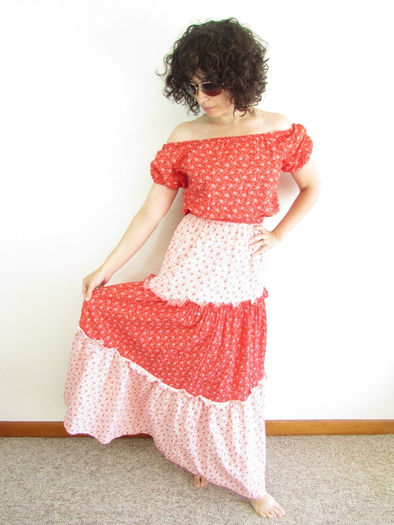 Vintage JC Penney Peasant Dress 1970s Red and Whit