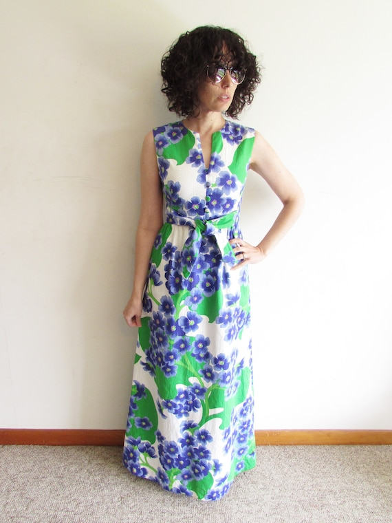Vintage Malia Honolulu Dress 1960s 1970s Floral Ha