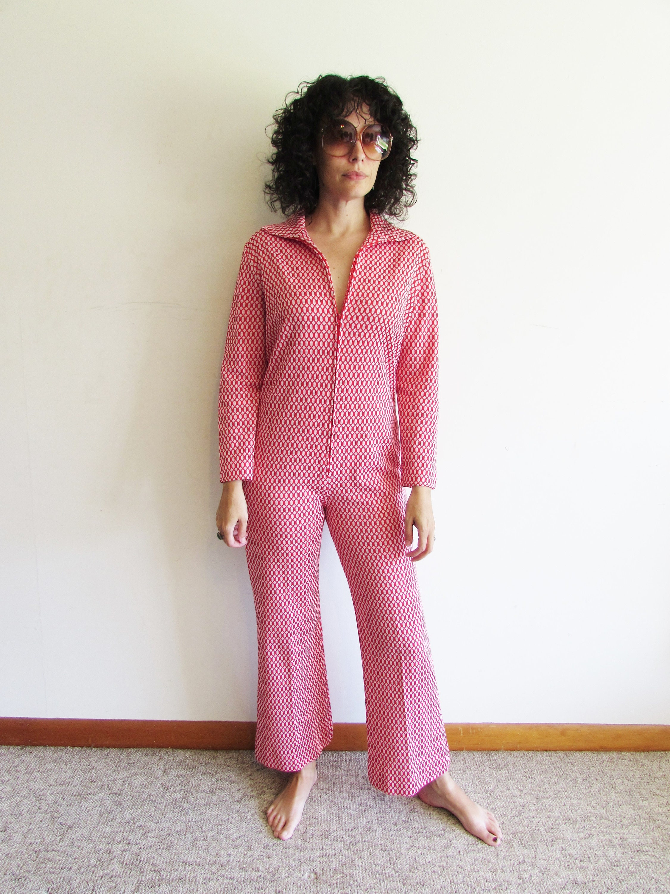 37f46ac4415 Vintage jumpsuit polyester lounge wear red and white zip up etsy jpg  2250x3000 Polyester jumpsuit