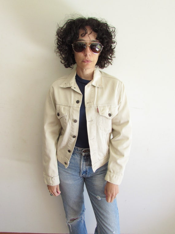 Vintage Big E Levis Jacket 1960s 941B Beige Denim