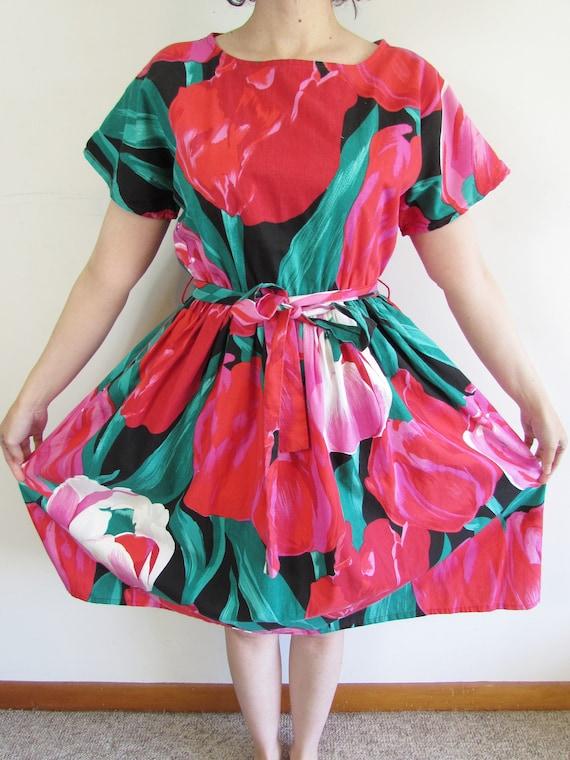 Vintage Tulip Dress 1980s Oversized All Over Larg… - image 4