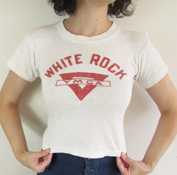 Vintage White Rock YMCA T shirt 1950s 1960s Champ… - image 3