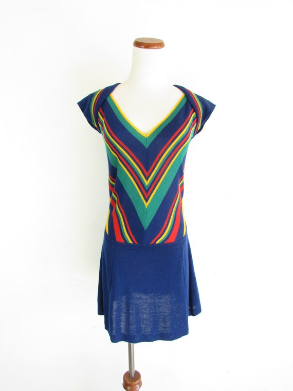 Vintage Knit Tennis Dress 1970s Navy The Line Denv