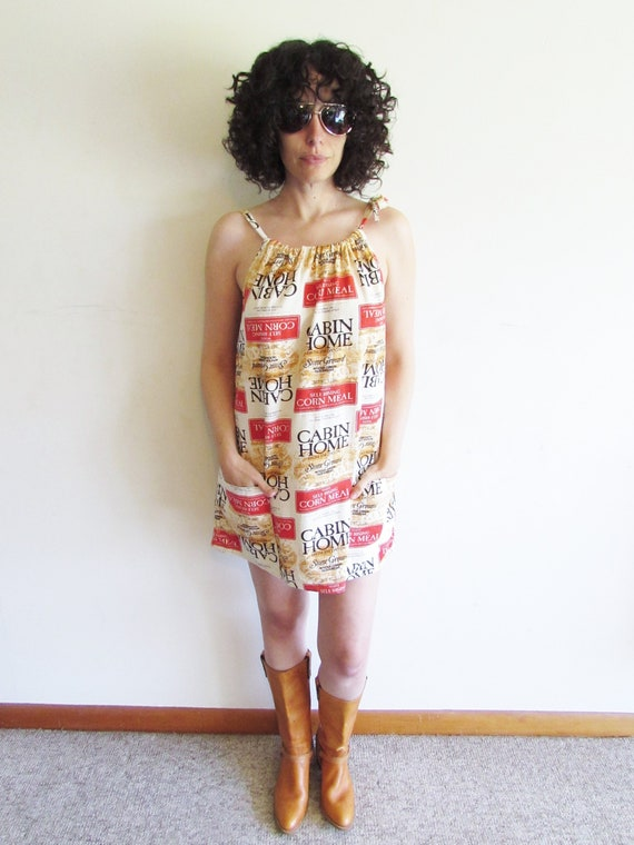 Vintage Feed Sack Print Dress Jim Dandy Cabin Home