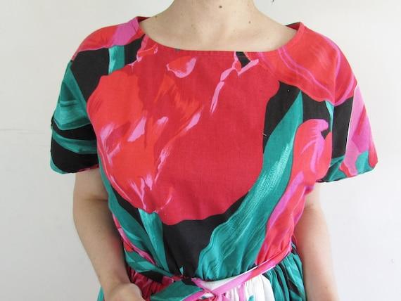 Vintage Tulip Dress 1980s Oversized All Over Larg… - image 5