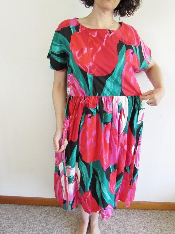 Vintage Tulip Dress 1980s Oversized All Over Larg… - image 6