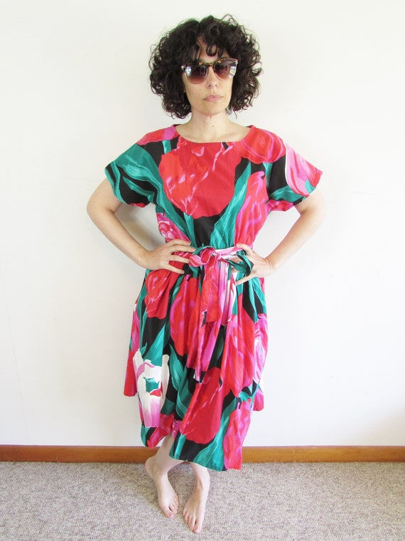 Vintage Tulip Dress 1980s Oversized All Over Larg… - image 2