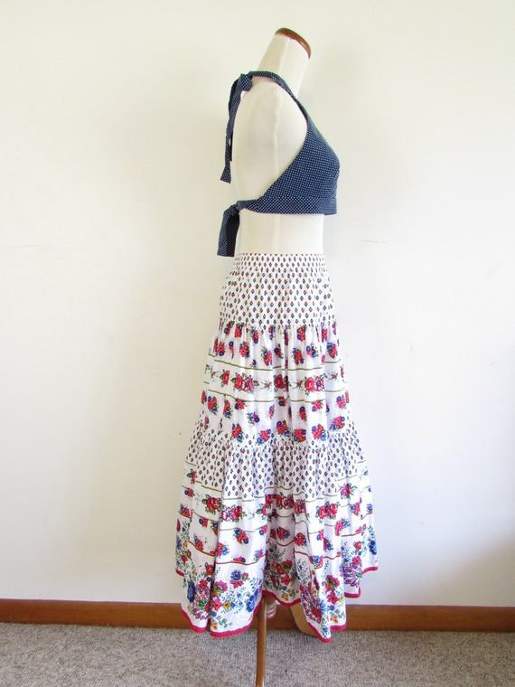 Vintage Liz Sport Skirt 1980s 1990s White Floral … - image 2
