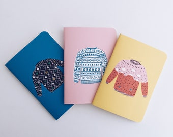 Tiny Sweaters Nº1 Pocket Notebooks - 3 Pocket Notebooks Pack - Journal - Sketchbook - Blank pages - Lined pages - Dotted pages