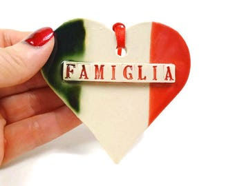 Famiglia Heart Ornament Italian Flag Family Christmas Gift Italy Kitchen