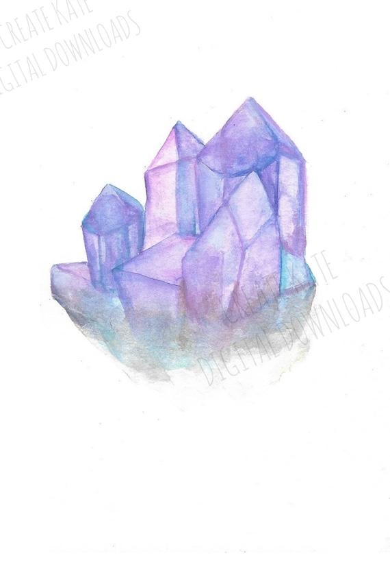 Watercolor Print, Watercolor Crystal, Watercolor Painting, Boho Decor,  Purple Wall Art, Crystal Cluster, Digital Prints, Gallery Wall Print