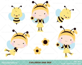 50% OFF Children and bee clip art for personal and commercial use (074)