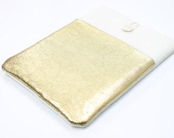 Lenovo Yoga 3 Case, White Gold Custom Laptop Case, Lenovo Thinkpad sleeve, Macbook 12 case, Linen Laptop sleeve, padded sleeve front pocket